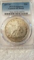 1877 S $1 TRADE SILVER DOLLAR XF DETAILS CLEANED CIRCULATED