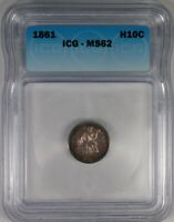1861 H10C SEATED LIBERTY HALF DIME COIN ICG MS62