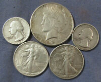 LOT OF 5 US SILVER COINS 1923 S PEACE SILVER DOLLAR 1939 & 1
