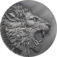 2020 CAMEROON PANTHERA LEO LION 2 OZ .999 SILVER ANTIQUED COIN   MINTAGE 500