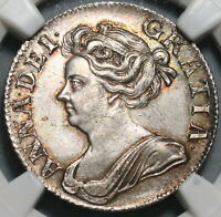 1709 NGC AU 58 ANNE SHILLING GREAT BRITAIN SILVER COIN S 3610  20110501C