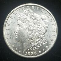 UNCIRCULATED 1886-S SAN FRANCISCO MINT SILVER MORGAN DOLLAR BU WITH REVERSE TONE