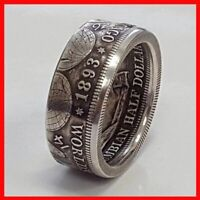 HALF DOLLAR 1893 COIN VINTAGE COCTAIL JEWELLERY SILVER PLATED RING SZ 9