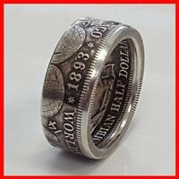 HALF DOLLAR 1893 COIN VINTAGE COCTAIL JEWELLERY SILVER PLATED RING SZ 10