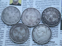 5PC DIFFERENT CHINESE SILVER COINS