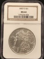 1883-O $1 MORGAN SILVER DOLLAR COIN NGC MINT STATE 64