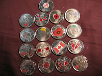 GREAT CHRISTMAS GIFT BEAUTIFUL COLLECTION OF CANADA 17 COLOURED COINS.