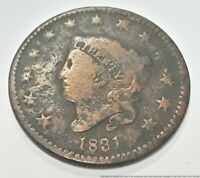 1831 P LARGE CENT COPPER PENNY AMERICAN LIBERTY COIN CORONET