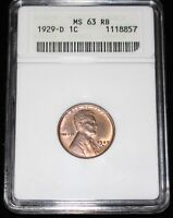 1929 D USA ONE CENT - LINCOLN - ANACS MINT STATE 63 RB -  DETAILS - HIGH GRADE