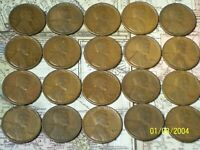 1918 TO 1927 @ LINCOLN WHEAT CENTS 20 COIN SET.FROM OLD ROLLS