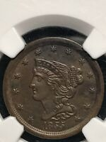 1855 US BRAIDED HAIR HALF CENT NGC MINT STATE 60 UNCIRCULATED LOT MDSZVXP