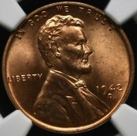 1942-D LINCOLN WHEAT CENT CENT 1C - NGC MINT STATE 65 RD