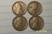 1913 TO 1916 @ 4-COIN SET OF LINCOLN PENNIES FROM OLD ROLLS