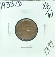 1933-D LINCOLN WHEAT CENT  EXTRA FINE /AU COIN