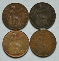 GREAT BRITAIN ONE PENNY 1915 1918 H 1921 1932   LOT OF 4 F E