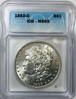 1893 O MORGAN DOLLAR - ICG MINT STATE 63 -   COIN - GREAT LUSTER