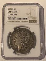 1896 S $1 NGC VF DETAILS SCRATCHES MORGAN SILVER COIN