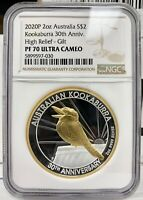 2020 AUSTRALIA GOLD GILDED KOOKABURRA HIGH RELIEF 2 OZ SILVE