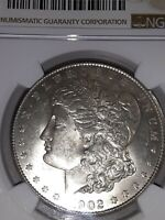 1902 S NGC MINT STATE 61 MORGAN  IN  GOOD CONDITION,  NO TONING, SPOTS OR SCRATCHES,C