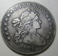 1798 SILVER BUST DOLLAR LARGE EAGLE POINTED 5 EXTRA FINE  DETAILS PROBLEM FREE..225A