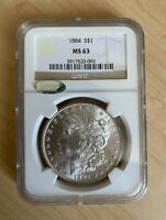 MINT STATE 63 1884-P MORGAN SILVER DOLLAR - GRADED NGC