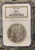 1881-S $1 MORGAN SILVER DOLLAR MINT STATE 64 NGC