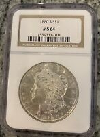 1880-S MORGAN SILVER DOLLAR NGC MINT STATE 64 BEAUTIFUL COIN