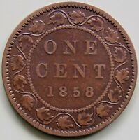 1858 CANADA CANADIAN LARGE 1 CENT VICTORIA COIN