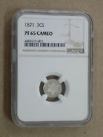 1871 3C THREE CENT PROOF SILVER NGC PF65 CAMEO