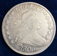 GORGEOUS  1806  DRAPED BUST HALF DOLLAR  POINTED 6 GREAT EYE APPEAL