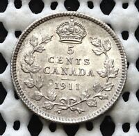 1911 CANADA SILVER FIVE CENT  KING GEORGE V  LUSTROUS OLD COIN