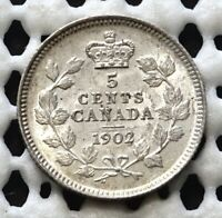 1902 CANADA SILVER FIVE CENT  KING EDWARD VII  NICE UNC LUSTROUS BEAUTY