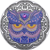 2020 NIUE $5 MANDALA OWL 2 OZ .999 SILVER PROOF COIN W/GEMST