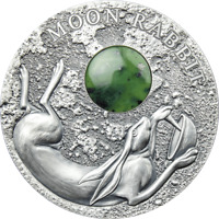 2021 NIUE $2 MOON RABBIT 50 GRAM SILVER .999 COIN W/JADE GEM