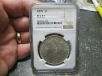 1899 US MORGAN SILVER DOLLAR NGC MINT STATE 62 UNCIRCULATED