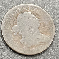 1807 DRAPED BUST HALF CENT EARLY U.S. COPPER HALF PENNY  COIN 1/200TH DOLLAR