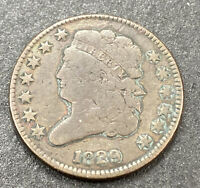 1829   CLASSIC HEAD EARLY   US COPPER  HALF CENT 1/2C