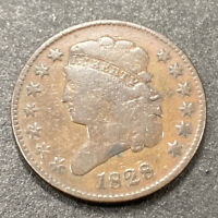 1828  CLASSIC HEAD HALF CENT 1/2C EARLY AMERICAN COPPER COIN 13 STARS
