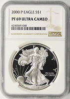 2000-P $1 PROOF AMERICAN SILVER EAGLE NGC PF69UCAM