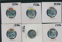 BUFFALO & INDIAN NICKEL -  1936- P LOT OF 6  COINS