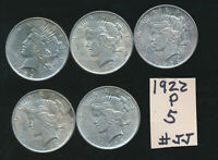 PEACE DOLLAR - 1922-P LUSTEROUS LOT OF 5 COINS - JJ