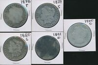 MORGAN SILVER DOLLARS  -  5  CIRCULATED COINS - 1878-1900 ALL DIFFERENT