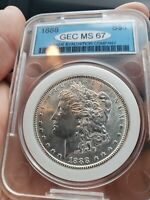 MS 67 1888 MORGAN SILVER DOLLAR  MS67 VERY RARE COIN AND IN