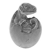 2021 CHAD 10 000 FRANCS HATCHED VELOCIRAPTOR 2 OZ .999 SILVER COIN   500 MADE