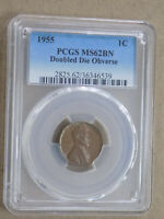 1955 1C LINCOLN CENT PENNY PCGS MS62 BN DOUBLED DOUBLE DIE O