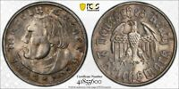 1933 F GERMANY 2 MARK MARTIN LUTHER PCGS MS64 LOTG1142 SILVER  NICE UNC