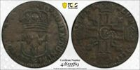 1693 P FRANCE 15 DENIER USE IN NEW FRANCE LIS COUNTERSTAMP PCGS F15 LOTG1150