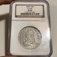 1833 CAPPED BUST HALF DOLLAR - NGC EXTRA FINE 45 O-104