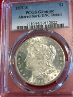 PCGS GENUINE 1891 S ALTERED SURF. UNC DETAIL MORGAN SILVER DOLLAR-MAY151