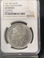 1901 MORGAN DOLLAR - VAM-3 DDR FEATHERS TOP-100 - NGC AU DETAILS CLEANED
